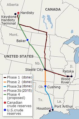 Keystone-pipeline-route